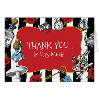Alice in Wonderland Striped Thank You Card