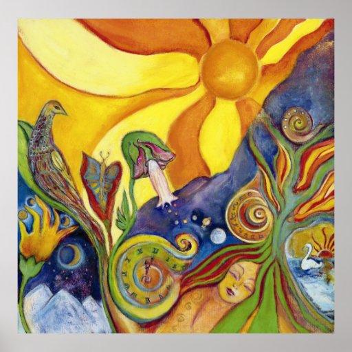 Alice in Wonderland Sunshine Dream Colorful Art Poster