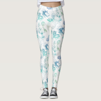 Alice in Wonderland Tea Blue Green Leggings