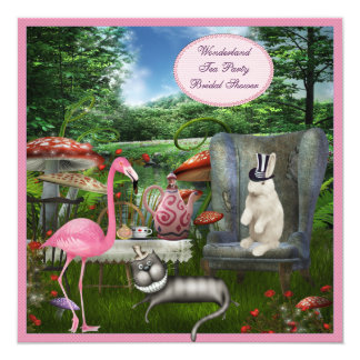 Alice in Wonderland Tea Party Bridal Shower 13 Cm X 13 Cm Square Invitation Card