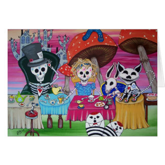 Alice in Wonderland Tea Party Day of the Dead Card