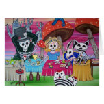 Alice in Wonderland Tea Party Day of the Dead Greeting Card