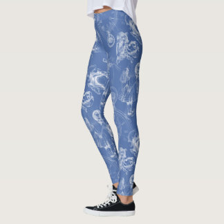 Alice in Wonderland Tea Time Blue Leggings