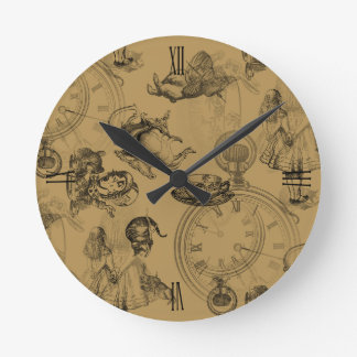 Alice in Wonderland Teatime Gold Black Clock