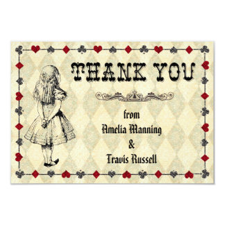 Alice in Wonderland Thank You Card - Wedding