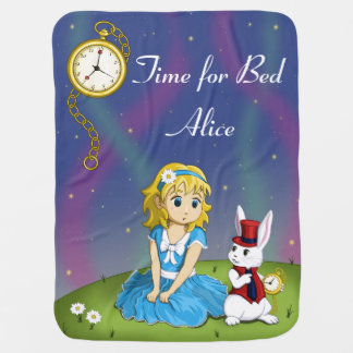 "Alice in Wonderland ""Time for Bed"" Blanket Pramblankets"