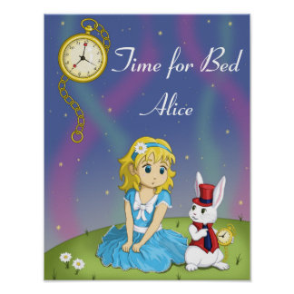 "Alice in Wonderland ""Time for Bed"" Poster"