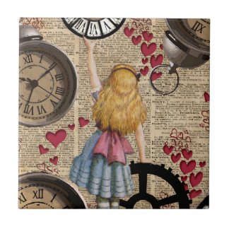 Alice In Wonderland Travelling in Time Small Square Tile