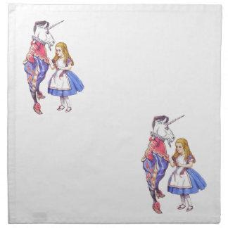 Alice in Wonderland & Unicorn napkins set