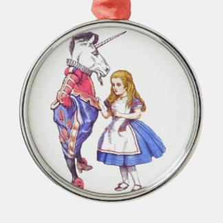 Alice in Wonderland & Unicorn ornament