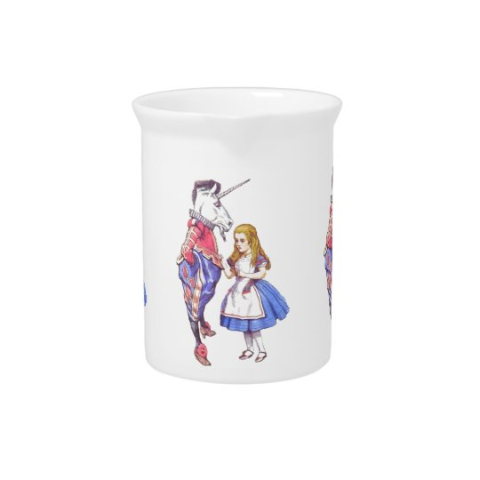 Alice in Wonderland & Unicorn porcelain pitcher