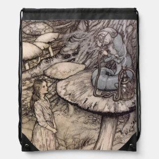 Alice in Wonderland Vintage Catepillar Drawstring Bag