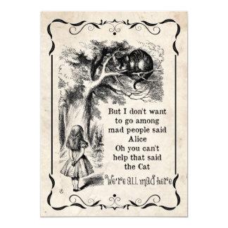 "Alice in Wonderland Vintage Custom Party Invites 5"" X 7"" Invitation Card"