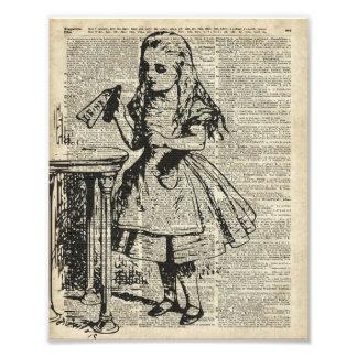 Alice in Wonderland Vintage Stencil on Old Page Photo