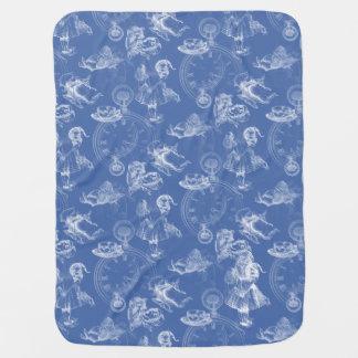 Alice in Wonderland Vintage Tea Time Blue Blanket Pramblankets