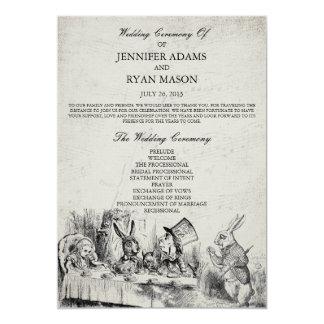 Alice in Wonderland Wedding Program 5x7 Paper Invitation Card