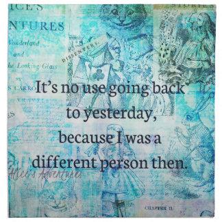 Alice in wonderland whimsical quote napkin