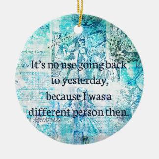 Alice in wonderland whimsical quote round ceramic decoration