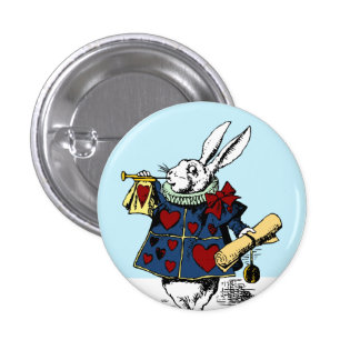 Alice in Wonderland White Rabbit Button Style #1