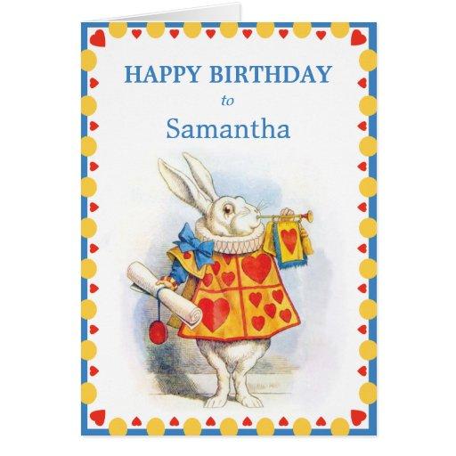 Alice in Wonderland White Rabbit Custom Birthday Greeting Cards