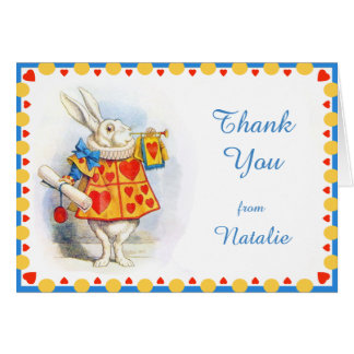 Alice in Wonderland White Rabbit Custom Thank You Card