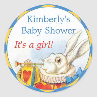 Alice in Wonderland White Rabbit Girl Baby Shower Classic Round Sticker