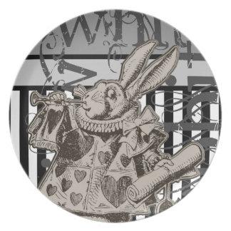 Alice In Wonderland White Rabbit Grunge Plate