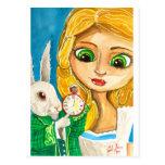 ALICE IN WONDERLAND WHITE RABBIT POST CARD