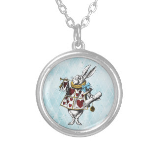 Alice in Wonderland White Rabbit Silver Plated Necklace