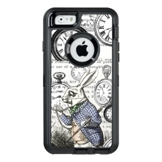 Alice in Wonderland White Rabbit Time OtterBox Defender iPhone Case