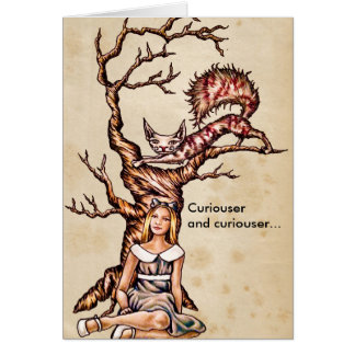 Alice in Wonderland with Cheshire Cat Card