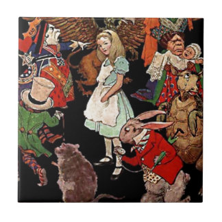 Alice in Wonderland with Friends Illustration Tile