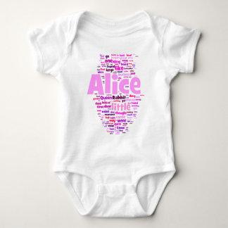Alice in Wonderland Word Art Baby Bodysuit
