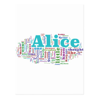 Alice in Wonderland Word Cloud Postcard