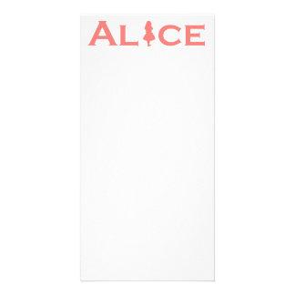 Alice in Wonderland Word Play Salmon Pink Photo Card