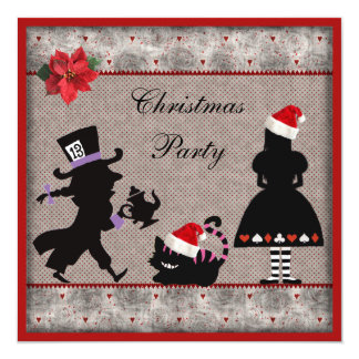 Alice, Mad Hatter & Cheshire Cat Christmas Party 13 Cm X 13 Cm Square Invitation Card