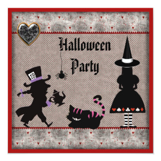 Alice, Mad Hatter & Cheshire Cat Halloween Party 13 Cm X 13 Cm Square Invitation Card