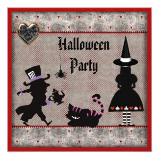 Alice, Mad Hatter & Cheshire Cat Halloween Party Announcements