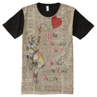 Alice,Mad Hatter &Rabbit Vintage Collage Quote All-Over Print T-Shirt