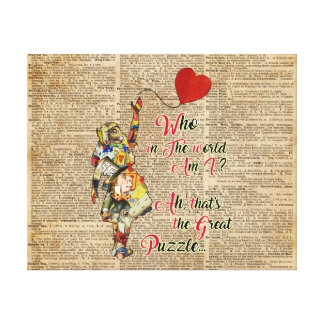 Alice,Mad Hatter &Rabbit Vintage Collage Quote Canvas Print