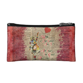 Alice,Mad Hatter &Rabbit Vintage Collage Quote Cosmetics Bags