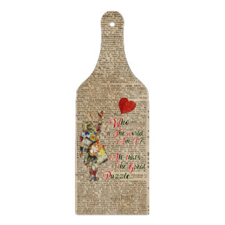Alice,Mad Hatter &Rabbit Vintage Collage Quote Cutting Board
