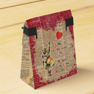 Alice,Mad Hatter &Rabbit Vintage Collage Quote Favour Boxes