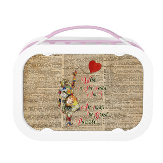 Alice,Mad Hatter &Rabbit Vintage Collage Quote Lunch Box