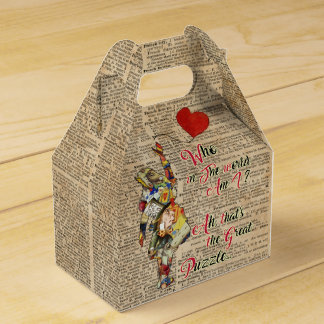 Alice,Mad Hatter &Rabbit Vintage Collage Quote Party Favour Box