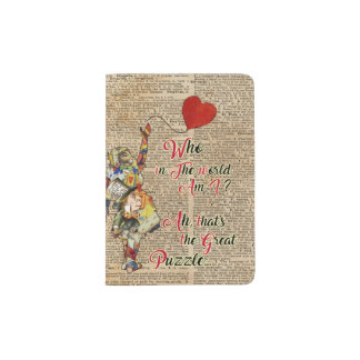 Alice,Mad Hatter &Rabbit Vintage Collage Quote Passport Holder