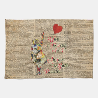 Alice,Mad Hatter &Rabbit Vintage Collage Quote Tea Towel