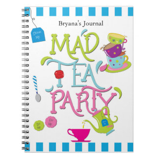Alice Mad Tea Party Wonderland Whimsical Spiral Notebook
