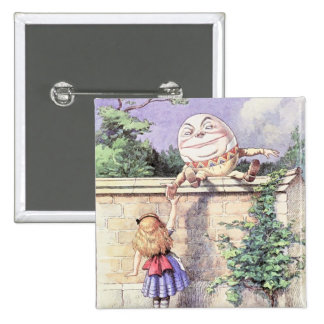 Alice Meets Humpty Dumpty 15 Cm Square Badge