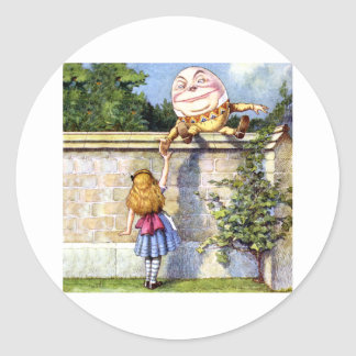 Alice Meets Humpty Dumpty in Wonderland Classic Round Sticker